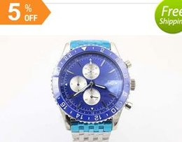 Wholesale 2016newHot Sale Phantom Blue Face Quartz Men s Wristwatch Platinum Skeleton Three Tone With Annual Calendar Stopwatch Male Watch