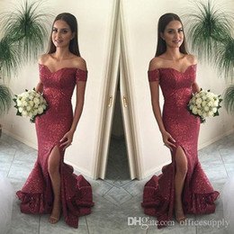 Cranberry Mermaid Prom Dresses Off the Shoulder Split Front Sparkling Sequins Sexy Back Pageant Gowns Ruffles Court Train BA1066