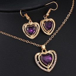 Heart Necklace Earrings Jewelry Set Fashion 18kgp Women Jewelry Sets TOP Quality Heart Crystal Necklace Sets HZS42A1