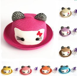 Wholesale Summer Cute Boys Girls Bowknot Kitty Cat Straw Hats Family Cowboy Jazz Kids Children Bow Sunhat Sand Beach style in stock