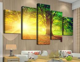 Скидка большие отпечатки на холсте Рамку Деревья искусства среди желтого солнца и Green Большой HD с самым высоким рейтингом Печать холст живописи для гостиной, стены искусства Изображение F / 759