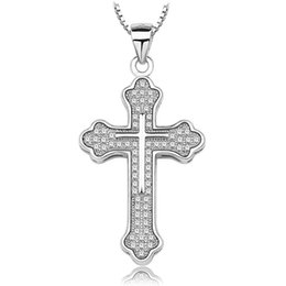 Wholesale 8Wholesale Authentic Stealing Silver Pendant Necklace Cross Swarovski Style White Austrian Crystal Jewelry A234 Hot Sale