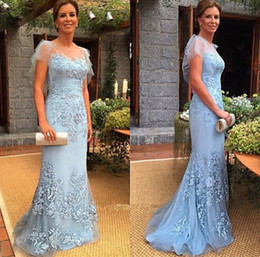 Sheer Neck Formal Evening Dresses 2019 Chiffon Lace Applique Short Sleeve Mother Of The Bride Dresses Prom Party Gowns