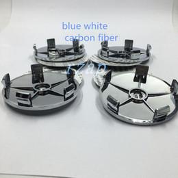 Wholesale 100pcs Blue White mm Carbon Fiber Wheel Rim Cover Caps Car Wheel Center Hub Caps For Bmw X6 Z4 M6 E92