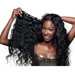 Extensión del pelo humano clip de la cabeza llena en Línea-Al por mayor-clip en extensiones de cabello humano brasileño de la onda del cuerpo cabeza completa clip en la extensión del pelo humano natural del pelo ondulado del pelo Clip Ins Bundle