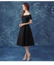 Wholesale Graceful A Line Evening Gowns Simple Decent Sexy Bateau Black Formal Attire Ball Dresses Tea Length Short Sleeve Custom Made