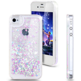 Moda Diseño Creativo Flujo Líquido Flotante Lujo Bling Glitter Sparkle Love Heart Estuche duro para Apple iPhone 4 4s 5 5s 6 6 plus desde casos del corazón iphone 4s fabricantes