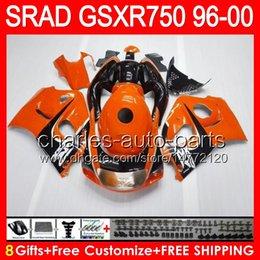 8gifts Pour SUZUKI GSXR750 96 97 98 99 00 GSXR-750 59NO10 brillant d'orange GSX R750 96-00 SRAD GSXR 750 1996 1997 1998 1999 2000 Carénage noir à partir de 98 gsxr carénage orange noir fabricateur