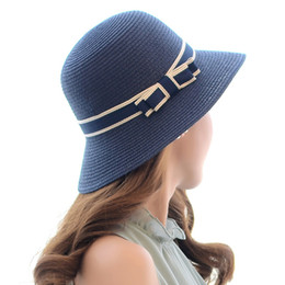 Wholesale Silver Wide Brim Hat - 2016 Brand Fashion Multicolor Women Ladies Summer Beach Panama Wide Brim Sun Hat Foldable Female Straw Cap With Bow Ribbon