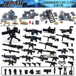 Wholesale 4sets Weapons Bag SWAT Police Sandbag Mortar Shield City Vanguard Marine Corps RPG M4 Gun Minifigures Building Blocks Toys