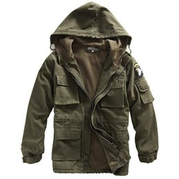 Wholesale Mens Winter Military Cotton Jacket US Army AIR FORCE Thermal Trench with Hood Casual Wadded Jacket Fleece Lining Military Coat