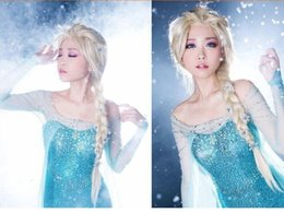 Hot Selling Free shipping New Decorative 6 Flowers Princess Cool Cute 89 Cm Long Frozen Snow Queen Elsa Cosplay Wig