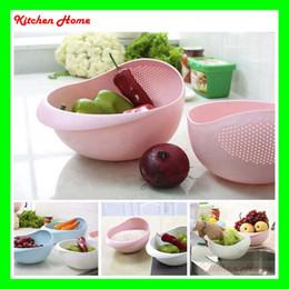 Wholesale 2 Sizes Thicken Plastic Wash Rice Fruit Vegetable Colander Strainer Sieve Bright Kitchen Plastic Drain Vegetable Basket