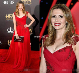 Wholesale Short Hollywood Dresses - Red Beaded Lace Cap Sleeves Celebrity Evening Dresses 2016 Carly Steel V-Neck A-Line Chiffon Hollywood Film Awards Long Plus Size Prom Gowns