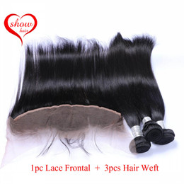 13x4 Straight Ear to Ear Lace Frontal Closure With Hair Bundles 3 Pieces Brazilian Straight Hair Weaves With 1 Piece Lace Frontal