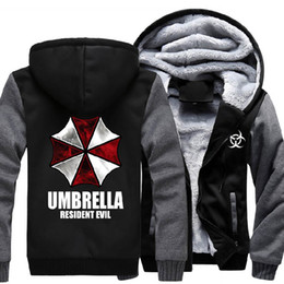 Wholesale Resident Evil Umbrella Thicken Coat Jacket Hoodie Sweatshirt Mens Casual Winter Thick Warm Hooded Cotton Fleece US Size M XL
