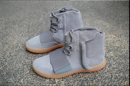 Wholesale With Box Boost Kanye West Leather Ankle Boots Mid Cut boost west kanye Men s Sport Running Shoes best high version EUR36