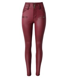 WJ009 west fashion women skinny slim red jeans denim leather-like mid waist waisted spring thick 3-button pants