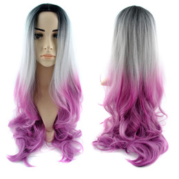 Wholesale 30 quot cm Fashionable Full Head Ombre Wig Woman Long Wavy Gradient Colored Heat Resistant Synthetic Hair Cosplay Wig