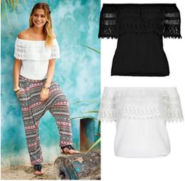 Fashion Womens Blouses Tops Off The Shoulder Lace Linen Slash Neck Panelled Shirt Solid Color S-XL Top Shirt
