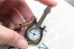 Wholesale Halloween Christmas Party Gift Brand New Bronze Quartz Antique Guitar Music Vine Pocket Watches with Key Chain Sweater Necklace