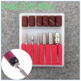 Promotion forets en métal Gros-6PCS Les Forets et la bande de ponçage pour Nail Drill remplacement Set ongles métalliques Fichier électrique Bits + Livraison gratuite (NR-WS35)