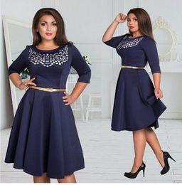 Free Shipping The Summer Women Big size dress O-Neck 3 4 Sleeve Print Women Casual dress size 5XL four Colors.