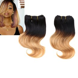 2pcs 100g Human Hair Extensions Weft 8 inch 8'' Brazilian Body Wave 100% Human Short Hair 50g bundle Double Weft 10 colors