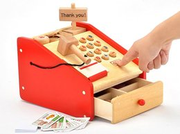 Wholesale Baby Toys Japan Woody Puddy Artificial Simulation Cash Register Supermarket Cash Desk Baby Intelligence Wooden Toys Gift