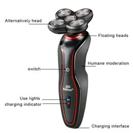Wholesale KM Washable Electric Shaver Triple Blade Electric Razor Face Care D Floating Shaver Rotating with Rechargeable Heads