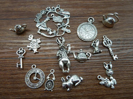 Wholesale Mix of Alice Rabbit Charms Antique Silver Alice in Wonderland Charm Pendants
