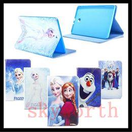 Wholesale Cartoon Galaxy S Cases - Cartoon Movie Elsa Anna Princess Flip Folio Leather Case For Samsung Galaxy tab A S E 4 T280 T560 T550 T350 T700 T800