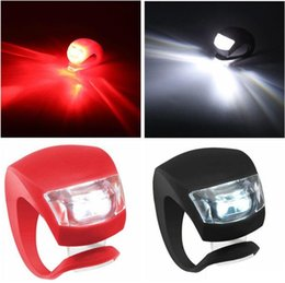 Silicone Bike lamp Bicycle Cycling Head Front Rear Wheel LED Flash Bicycle Light Lamp black red include the battery