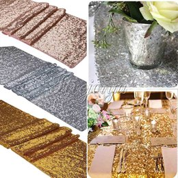 Wholesale 5Pcs quot x108 quot Gold Silver Champange Sequin Fabric Table Runner Sparkly Bling for Wedding Party Decoration Products Supplies