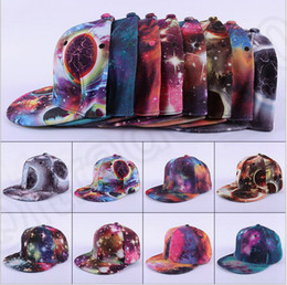 Wholesale 10 color LJJK336 Galaxy artistic Space hat Men Womens Baseball cap Adjustable Flat Snapback Hip hop Baseball Flat Peak Visor Flat Hat