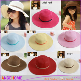 2016 Hot style Baby girl straw sun hats sunhats Summer Beach hats Large Along The Strawhat Sun Hat for kids