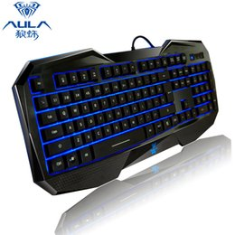 Teclado para juegos de luz de fondo azul en Línea-AULA SI-859 retroiluminada teclado de juegos con luz de fondo ajustable rojo púrpura azul USB con cable iluminado teclado de computadora para juego