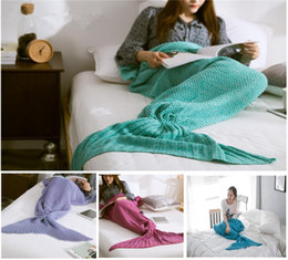 Wholesale 2016 Three size Fashion Knitted Mermaid Blanket Super Soft Warmer Blanket Bed Sleeping Costume Air condition Knit Blanket Colors