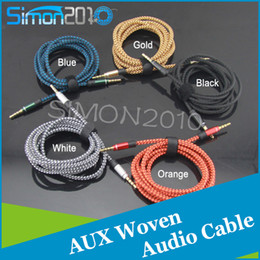 Wholesale Braid Aux Cable with Unbroken Metal connector Male to Male Car audio extension Cable M MM For Mobile phones Tablet PC