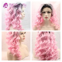 Wholesale Pink Ombre Wig Hair Synthetic Wigs for white Women quot Long Deep Wave Natural Cheap Hair Wig Female Hair