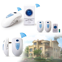 Wholesale New White Blue LED Plug in Wireless Digital Doorbell Remote Control Wireless Doorbell V timbre inalambrico deurbel