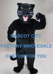 Wholesale Power Big Black Cat Panther Mascot Costume Adult Size Wild Animal Theme Games Party Carnival Mascotte Mascotta fit Suit Kit SW1069