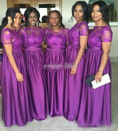 Wholesale Nigerian Long Wedding Bridesmaid Dresses Purple Lace Short Sleeves Plus Size Vintage Maid Of Honor Evening Gowns Mother Formal Wears
