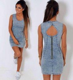 Wholesale 2016 European Style Summer Woman New Fashion Confortable Elegant Noble Blue Washing Scoop Printing Sleeveless Jumpsuit Denim Skirt B