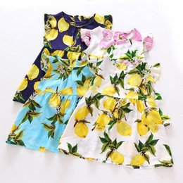 Wholesale 2T T Lolita Style Girl s Dresses Lemon Banana Pineapple Puff Sleeve Dresses Kids Summer Cotton Dresses Colors Sizes Cheap Dresses