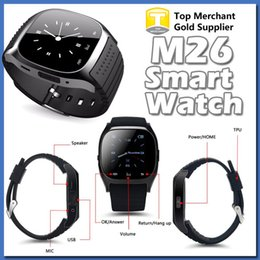 Wholesale 2016 Bluetooth Smart Watches M26 for IOS iPhone S Android Samsung S6 S7 Edge Barometer Alitmeter Music Player Pedometer PK U8 DZ09