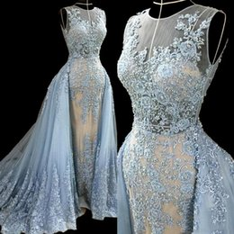 2016 Sky Blue Evening Dresses with Overskirt Tulle Lace Applique Beads Formal Women Dresses Evening Gowns