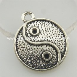Wholesale 19408 X Vintage Silver Alloy I Ching Bagua Tai Chi Ying Yang Pendant Findings
