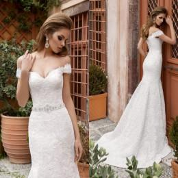 2016 Full Lace Wedding Dresses Mermaid Bridal Gowns Off the Shoulders Beaded Waist Trumpet Cathedral Wedding Gowns with Straps