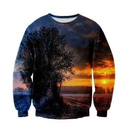Wholesale Raisevern Women Men Jesus Sunset Sweatshirt D Space Galaxy Hoodies Pullovers Sun Tree Sky Beautiful d Sweats Top